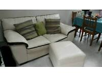 Leather sofa, chair, 2 seater and foot stool