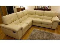 Cream leather corner sofa, with 2 recliners and foot stool