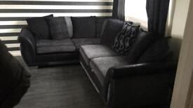 Black and grey fabric couch