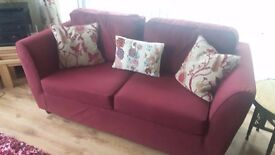 Sofa - 3 Seater sofa in burgundy velour and in excellent condition.