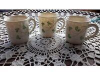 Belleek Basket Weave set of 3 coffee cups