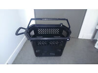 10 x Black Plastic Wheelie Shopping Baskets can be wheeled or carried