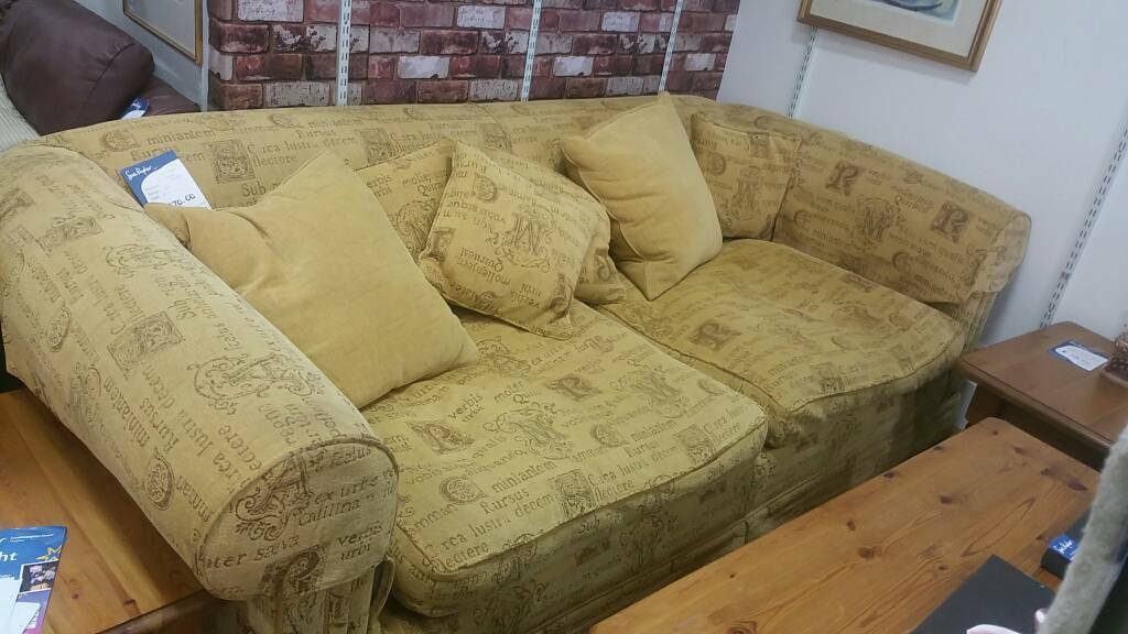 Gold Tapestry Effect Chunky 3 Seat Sofa Feather Filled Cushions