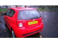 EXCELLENT 09 CHEVROLET AVEO, RED,LOW MILEAGE 88000,3 DR HATBACK MOT:JUNE /18,NEW BATTERY