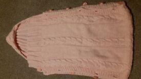 Handmade Crochet Baby Sleeping Bag Bright Pink Salmon