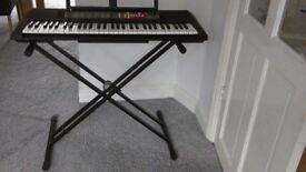 Yamaha PSR-F50 portable keyboard & tiger double stand & ac power adaptor
