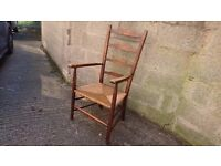 FABULOUS VICTORIAN ANTIQUE ELM FRAMED RUSH SEAT LADDER BACK ARMCHAIR RUSTIC DECOR USE LOVELY PATINA