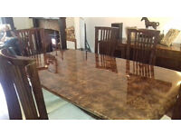Beautiful marble large dining table and 6 chairs with matching sideboard