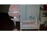 Girls Baby Annabelle Cot and Highchair set