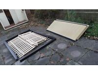 DOUBLE BED FRAME BLACK BROWN LETHER GOOD CONDITION NO MATTRESS / SOLID