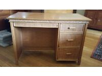 Rattan detailed wooden desk, handmade from Indonesia