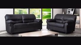 New Black 3 Seater faux leather sofa (free local delivery)