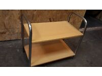 Pine finish & metal 2 shelf trolley,display side table, small tv unit