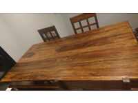 Large dining table and four chairs - dark wood