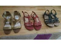 3 pairs of size 4 ladies flat shoes