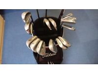 Various Titleist and Mizuno golf clubs for sale