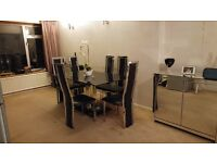 Black Glass Rectangular Dining Chair with 6 Chairs