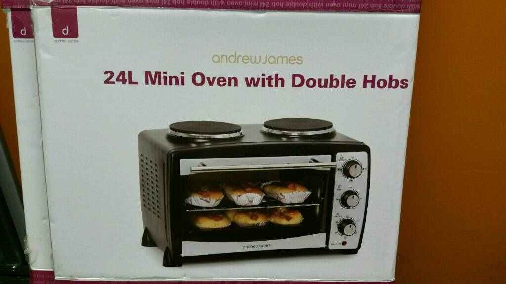 Electric mini oven with double hob