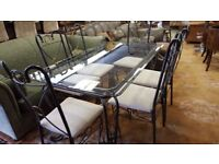 Wrought Iron Glass Top Dining Table & 6 Chairs