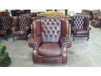 Super brown leather chesterfield oversized wingback chair UK delivery CHESTERFIELD LOUNGE