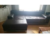 Well looked after leather sofa with chaise longue (left-hand) & footstool for sale