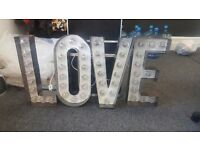 2ft Wedding Love Light. Rustic Metal. Mains Power. Inc Flight Case & Hire Website - £625