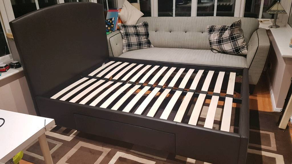 Ex display John lewis brown leather double bed