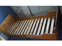 Extendable child single bed and mattresses (3x) suitable from 1 year to 10 years
