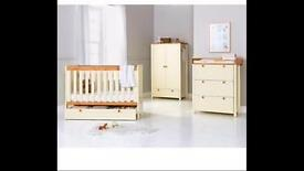 Cream and pine cot bed - excellent condition