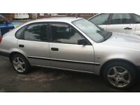Bargain - Good condition 5 door silver Toyota corolla, 4 new tyres, alloys, fully electric