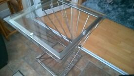 High quality metal and smoked Glass top Side/Lamp TABLE