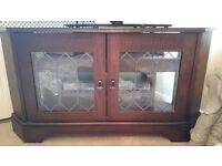 corner tv cabinet dark wood veneer