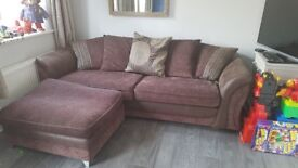 Large 4 seater sofa with pouffe sofa bed