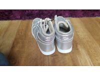 Girls grey/silver high top trainers UK 6 Eur 40