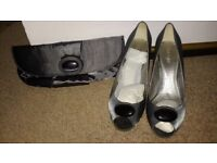 Grey satin shoes and clutch bag to match outfit for sale