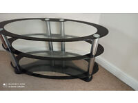 tv stand oval black glass for up to 42 inch tv