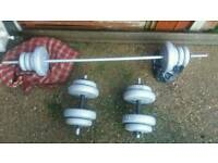 Pair of dumbells& lift bar & weights