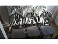 6 wheelback dining chairs