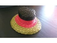 Laura Ashley straw hat pink / green / black - ideal for the races, wedding etc