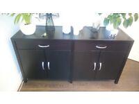 Wenge Dark Wood Brown-Black Living-Room Dining Room Sideboard Cupboard Drawers Storage Unit