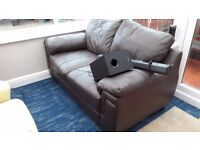 Two Seater Brown Leather Sofa free to collect