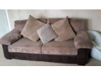 Brown and light brown dfs sofa great condition