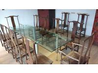 Glass Dining table by designer Ronald Schmitt