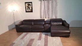 Elixir brown leather electric recliner large sofa with Ipod docking station