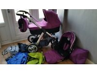 Oyster max pushchair and carrycot woth buggy board and lots of extras