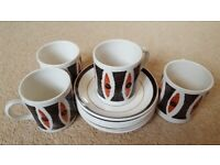 Vintage 1960s Indus Coffee Cups/Saucers