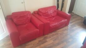 2 seater sofa + armchair RED LEATHER