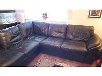 Black Leather L Shape Sofa - good condition