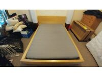 Ikea beech double bed with mattress
