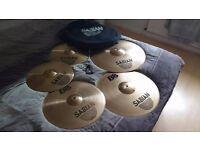 Sabian B8 Drum Cymbals, 2 Crashes, 1 ride, hi-hat
